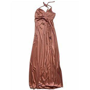 Vintage Pink Halter Maxi Dress Medium Empire Waist